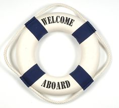 Good evening, everyone! Tonight and tomorrow let's do a Nautical theme in navy blue, white and red. I hope you enjoy! Nautical Wall Decor, Nautical Party, Les Hamptons, Navy And White, Navy Blue, Welcome Aboard, Life Savers, S Girls, Beautiful Day