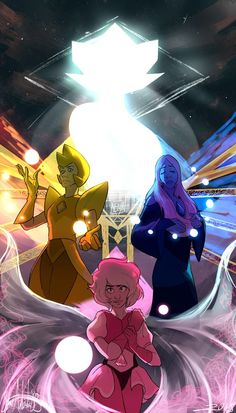The Great Diamond Authority — 💛 Yellow Diamond, ❤ Pink Diamond, Blue Diamond 💙 & White Diamond ♡ By: Steven Universe Wallpaper, Steven Universe Gem, Universe Art, White Diamond Steven Universe, Cartoon Network, Diamond Authority, Fanart, Star Vs The Forces Of Evil, Anime
