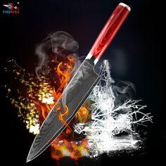 FINDKING новый 8 дюймов нож шеф-повара дамаск стальное лезвие цвет деревянной ручкой дамаск нож 71 слоев дамасской стали, кухонный нож