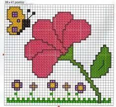Resultado de imagen para flores sencillas en punto de cruz