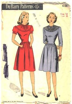 Vintage 1940s Ladies Knee Length Dress Pattern DuBarry 6136 Size 12 Bust 30