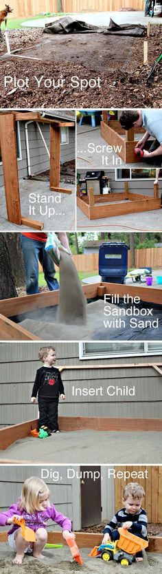Step by step instructions on how to build a sandbox the kids will play with for hours - INCLUDES INSTRUCTIONS FOR BUILDING A COVER TOO!