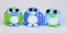 Mini Spring Penguin Lampwork Beads  blue green by maybeads on Etsy, $25.00