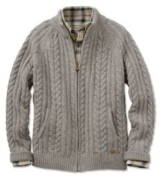 Browse our men's cardigan sweaters; be prepared for transitional weather with a smart zip- or button-front men's wool cardigan sweater from Orvis. Outfits Casual, Mode Outfits, Knit Baby Sweaters, Men Sweater, Cable Knit Cardigan, Sweater Knitting Patterns, Clothing Accessories, Knitting Sweaters, Boys