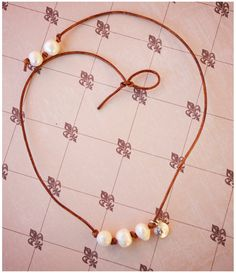 Pearl Necklace  Freshwater Pearls  Leather by FleurDeLisBowtique, $22.50