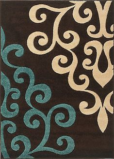 Rug Modern Damask Brown Teal Blue Cream 160x230cm