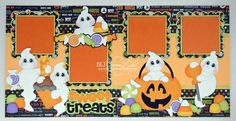 2 Premade Scrapbook Pages 12x12 Layout Paper Piecing Girl Boy Baby Halloween Sweet Treats Handmade Elite4U on Etsy, $38.99