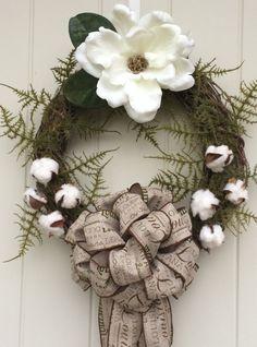 Magnolia Wreath, Burlap, Cotton bolls, Louisiana wreath, Grapevine wreath, Green Fern, Southern wreath, Deep South by DatDixieDecor on Etsy