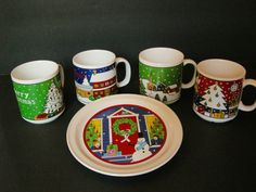 One small plate, perfect for Santas cookies. 4 matching mugs never used for food just display These were part of my familys Christmas display that they gave me Ive never used. I hope somebody will appreciate them and use them All from 1986 Each Mug has a different winter christmas scene on it. The mugs are unbranded. 3.5 tall 4.5 wide including handle No chips *Some light glaze crackling inside one cup *One has some weird glazing, the red cup with the decorated tree. It is one the bottom…
