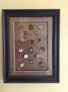 Custom Framing your button collection. www.GinasGiftsandFraming.com
