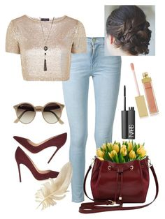 """""""Untitled #49"""" by suadalghanmi ❤ liked on Polyvore featuring beauty, Frame Denim, Topshop, Gianvito Rossi, Ray-Ban, M&Co, NARS Cosmetics and AERIN"""