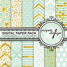 gold Minze Digital Paper Gold DIGITAL PAPER digital von Stilboxx