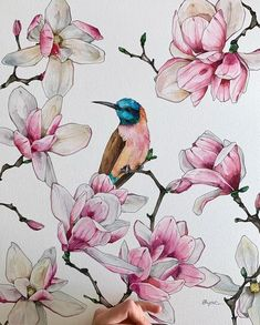 Bee-eater by Polina Bright Easy Flower Painting, Acrylic Painting Flowers, Watercolor Flowers, Watercolor Paintings, Watercolour, Flower Artwork, Encaustic Painting, Bright Art, Magnolias