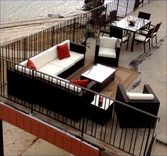 #wicker #outdoor sectional and dining set overhead view. http://www.wickerparadise.com/outdoor-wicker.html