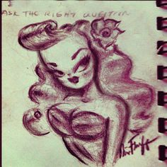 Rockabilly Doll sketch by Miss Fluff (Claudette Barjoud) of www.fluffshop.com #rockabilly #pinup #retro #rockabillyart