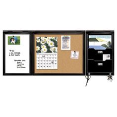 Accessories, : Great Furniture For Home Office Decoration Design Ideas Using Black Wood Dry Erase Cork Board