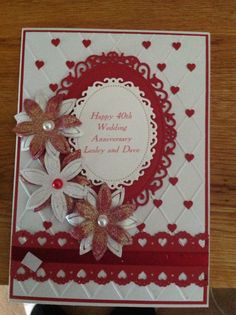 Ruby wedding card Handmade Ruby Wedding Anniversary