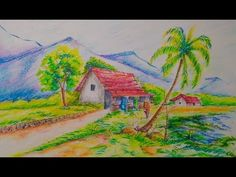 Scenery Drawing For Kids//Easy Drawing Tutorial Drawing Classes For Kids, Scenery Drawing For Kids, Drawing Tutorials For Kids, Art Drawings For Kids, Painting For Kids, Children Drawing, Drawings Of Love Couples, Love Drawings, Easy Drawings