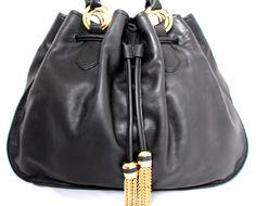 BLOOMINGDALE'S ASH BLACK GENUINE LEATHER GOLD CHAIN TASSELS SHOULDER BAG TOTE #BLOOMINGDALES #ShoulderBag
