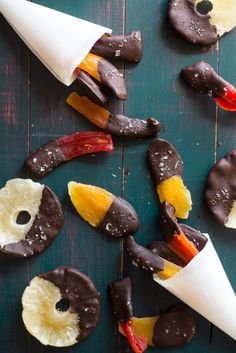 Move over, chocolate-covered strawberries — there's a new fruit snack in town. All it takes to make this awesome afternoon snack is your favorite dried tropical fruit, chocolate chips, spices, and some flaky sea salt. It's a quick project and they're SO GOOD!