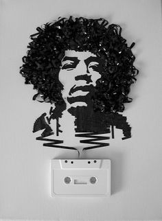 Illustration of Jimi Hendrix made from cassette tape