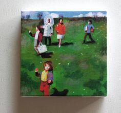 "green grass detail  ""Family trip""/ Tiny canvas  print by tushtush"