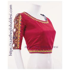 Gaji Silk handicrafted blouse with embroidery and mirror work Blouse is 17 inch long Minor variation in border embroidery possible. Note: Color may slightly vary due to digital photography. For any questions, contact us at 407 7419 (Call/Text/Whatsapp) Choli Designs, Fancy Blouse Designs, Bridal Blouse Designs, Blouse Neck Designs, Blouse Patterns, Skirt Patterns, Coat Patterns, Clothes Patterns, Blouse Styles