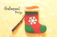 Handmade Christmas Stocking Phone Sleeve Cover by Galamaxi on Etsy