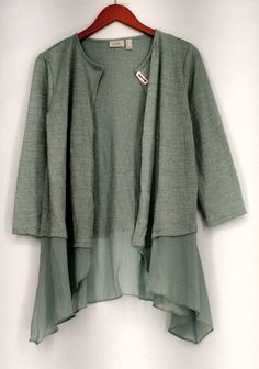 LOGO by Lori Goldstein Top Sz M Textured Knit Cardigan Green #LOGObyLoriGoldstein #KnitTop #Casual