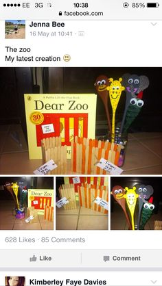 Story spoons Dear zoo Dear Zoo Activities, Nursery Activities, Animal Activities, Literacy Activities, Educational Activities, Preschool Activities, Preschool Books, Preschool Classroom, Preschool Zoo Theme