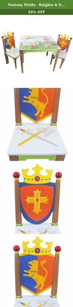 Fantasy Fields - Knights & Dragon Thematic Hand Crafted Kids Wooden Table and 2 Chairs Set | Imagination Inspiring Hand Crafted & Hand Painted Details | Non-Toxic, Lead Free Water-based Paint. Take a seat at a table full of fun with your favorite knights, with the Knights & Dragons Table and Chair Set. Sturdy wooden table is adorned with gorgeous mural of playful knights, fire breathing dragons and a landscape of a medieval castle. Take a seat on a chair built for the mightiest of knights...