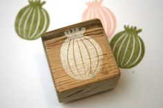 Poppy Seed Head Hand Carved Rubber Stamp by by LittleStampStore