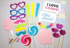 23-piece Candy Party Props - Candy Photobooth - Candy Photo Booth Props…