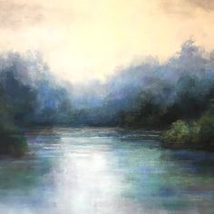 Blue Reflections Abstract Landscape by christina dowdy Acrylic/oil ~ 40 x 40 - Landschaftsbau Abstract Landscape Painting, Watercolor Landscape, Landscape Paintings, River Painting, Oil Painting On Canvas, Painting Tips, Painting Lessons, Paintings Famous, Art Paintings