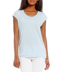 MICHAEL Michael Kors Stripe Knit Jersey Eliptical Hem Top