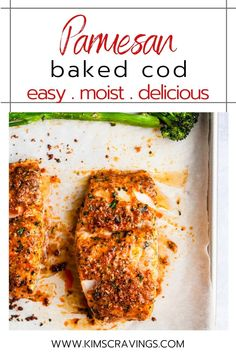 This Parmesan Baked Cod recipe is one of the easiest to prepare for a quick, tasty weeknight dinner. A healthy meal ready in less than 30 minutes! Cod Recipes, Fish Recipes, Seafood Recipes, Healthy Recipes, Salmon Recipes, Healthy Foods, Yummy Recipes, Healthy Eating, Fish Dinner