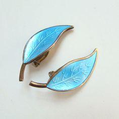 Vintage Modernist David Andersen Norway Norwegian Sterling Silver Clip Earrings Turquoise Blue Enamel Leaf by redroselady on Etsy
