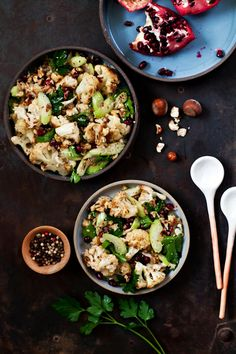 Cumin lamb & roasted cauliflower hazelnut salad