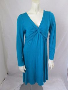 Betsey Johnson New York Rayon Blue Solid Empire Waist Long Sleeve Casual Dress M #BetseyJohnson #EmpireWaist #Casual