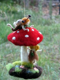 Made to order  Two snails children are having fun with red mushroom. Needle felted Waldorf inspired mobile. Magical home decoration. You can use it