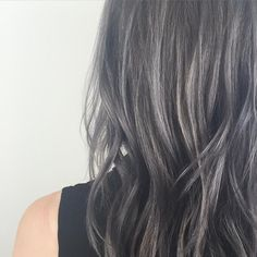 Charcoal hair by beautiful. Dark Grey Hair Color, Hair Color For Brown Skin, Black Hair With Highlights, Brown Blonde Hair, Hair Color Highlights, Ombre Hair Color, Grey Hair Don't Care, Gray Hair, Charcoal Hair