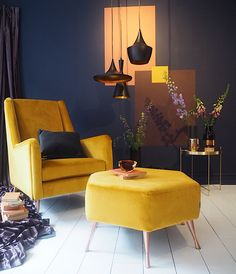 'Wing' chair in mustard velvet, £379, DFS. Retro yellow armchair. Retro interiors. Retro decor.