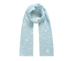 Blue/cream floral embroidered scarf