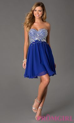 Short Prom Dresses for Teens | strapless short beaded dress Style: NA-6033 Detail Image 1