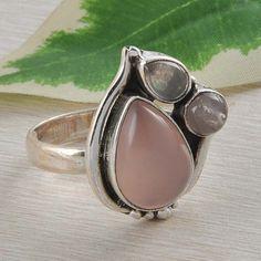 HOT DESIGN 925 SOLID STERLING SILVER ROSE QUARTZ RING 6.33g SIZE 9 DJR2525 #Handmade #Ring