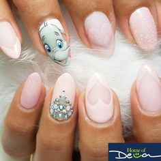 Make an original manicure for Valentine's Day - My Nails Disney Acrylic Nails, Best Acrylic Nails, Disney Nail Designs, Cute Nail Designs, Funky Nails, Trendy Nails, Cute Nail Art, Cute Nails, Hair And Nails
