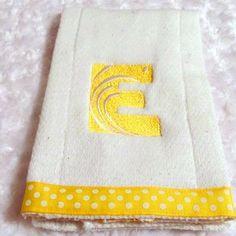 "Baby Burp Cloth 4""Satin Swirl Font  White Polka Dots on Yellow Ribbon #bestofEtsy #etsyretwt"