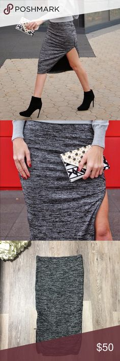 """Express Side Zippers Midi Pencil Skirt Never worn. Perfect condition. Zippers on each side, operable from hem to waist. Soft stretchy fabric. Fitted. Lined. 28 inches long. Size SMALL. Material in picture. """"Space-dyed"""" black white gray. Gray hardware zippers. Bundle & save. Make offer. Express Skirts Midi"""