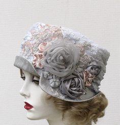 Womens Hat Edwardian Hats Vintage Style Downton Abbey Dove Grey Silver Lace Silk Fabric. $185.00, via Etsy.