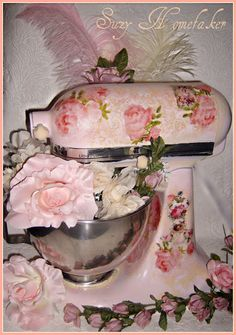 Decoupaged Kitchen Mixer....pretty and creative. my mom would do this if her was all white or pink , thank god its not